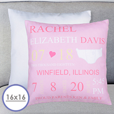 Girl Birth Announcement Personalized Pillow Cushion Cover 16