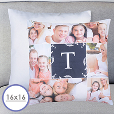 Monogrammed Collage Personalized Pillow Cushion Cover 16