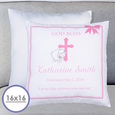 Girl Christening Personalized Pillow Cushion Cover 16