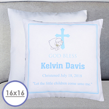 Boy Christening Personalized Large Cushion 18