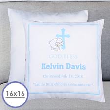Boy Christening Personalized Large Cushion 18