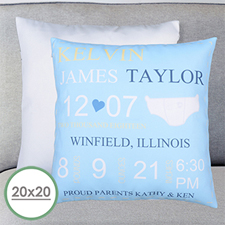 Boy Birth Announcement Personalized Large Pillow Cushion Cover 20