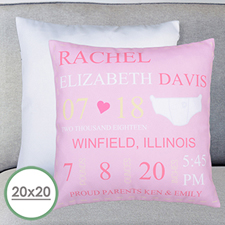 Girl Birth Announcement Personalized Large Pillow Cushion Cover 20