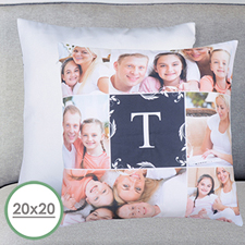 Monogrammed Collage Personalized Large Pillow Cushion Cover 20