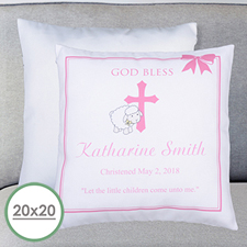 Girl Christening Personalized Large Pillow Cushion Cover 20