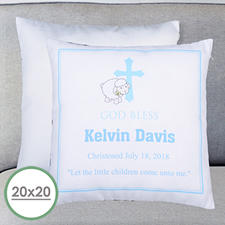 Boy Christening Personalized Large Pillow Cushion Cover 20