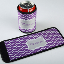 Lavender Chevron Personalized Can And Bottle Wrap