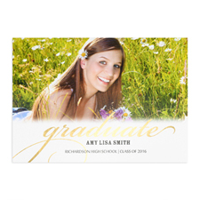 Foil Gold Graduate Personalized Photo Card