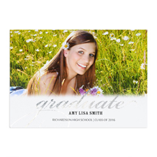Foil Silver Graduate Personalized Photo Card