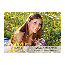 Foil Gold Whimsy Graduate Personalized Photo Graduation Announcement Cards