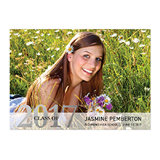 Foil Silver Whimsy Graduate Personalized Photo Graduation Announcement Cards