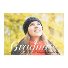 Foil Silver Script Graduate Personalized Photo Graduation Announcement Cards