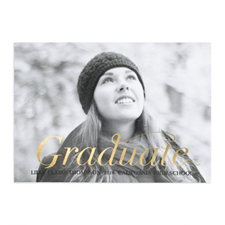 Foil Gold Script Graduate Personalized Photo Graduation Announcement Cards