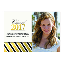 Foil Gold Deco Graduate Personalized Photo Graduation Announcement Cards