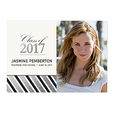 Foil Silver Deco Graduate Personalized Photo Graduation Announcement Cards