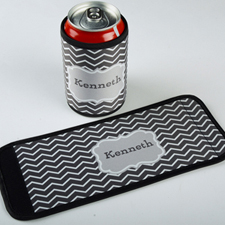 Grey Chevron Personalized Can And Bottle Wrap