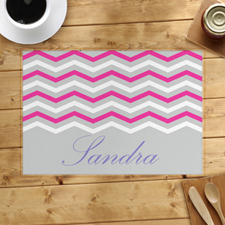 Grey White Pink Chevron Personalized Placemat