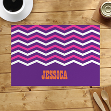 Purple White Pink Chevron Personalized Placemat