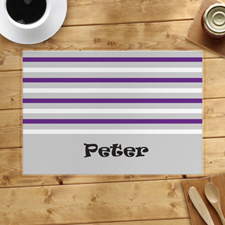 Grey White Purple Stripe Personalized Placemat