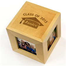 Class Of 2016 Personalized Engraved Wood Photo Cube