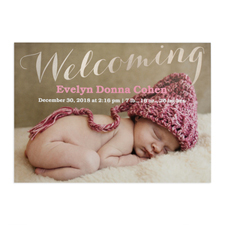 Welcoming Foil Silver Personalized Photo Birth Announcement, 5X7 Cards