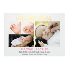 Introducing Foil Gold Personalized Photo Birth Announcement, 5X7 Cards