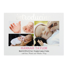 Introducing Foil Silver Personalized Photo Birth Announcement, 5X7 Cards