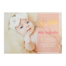 Script Hello Foil Gold Personalized Photo Girl Birth Announcement, 5X7 Cards