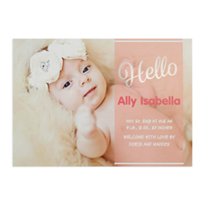 Script Hello Foil Silver Personalized Photo Girl Birth Announcement, 5X7 Cards