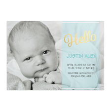Script Hello Foil Gold Personalized Photo Boy Birth Announcement, 5X7 Cards