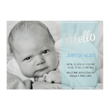 Script Hello Foil Silver Personalized Photo Boy Birth Announcement, 5X7 Cards
