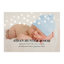 Star Foil Silver Personalized Photo Birth Announcement, 5X7 Cards
