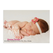 It's A Girl Foil Silver Personalized Photo Birth Announcement, 5X7 Cards