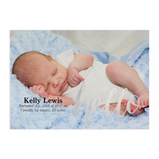 Foil Silver Hello Personalized Photo Birth Announcement, 5X7 Cards