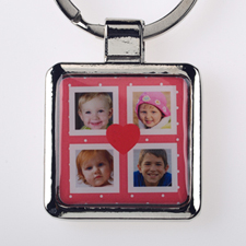 Cute Dot Four Collage Personalized Square Metal Keychain (Small)