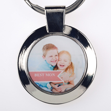 Best Mom Personalized Round Keychain (Small)