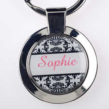 Damask Personalized Round Metal Keychain (Small)