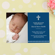 Cross Personalized Baptism Invitation Cards