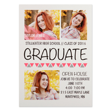Onward Upward Pink Personalized Graduation Invitation Cards