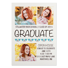 Onward Upward Aqua Personalized Graduation Invitation Cards