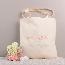 Engaged Personalized Cotton Wedding Tote Bag