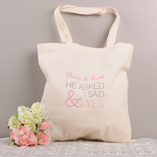 She Said Yes Personalized Cotton Wedding Tote Bag