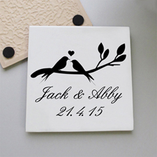 Wedding Birds Personalized Tile Coaster
