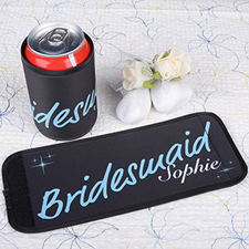 Aqua Bridesmaid Personalized Can And Bottle Wrap
