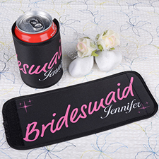 Fuchsia Bridesmaid Personalized Can And Bottle Wrap