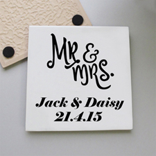 Mr. And Mrs. Personalized Wedding Tile Coaster