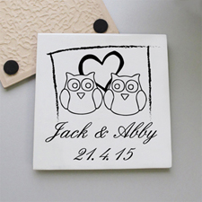 Owl Couple Personalized Tile Coaster