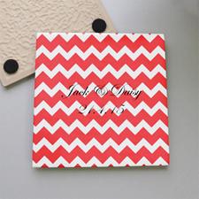 Chevron Monogrammed Tile Coaster