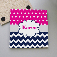 Fuchsia Dot Navy Chevron Personalized Tile Coaster