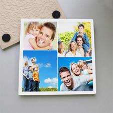 White Four Collage Tile Coaster